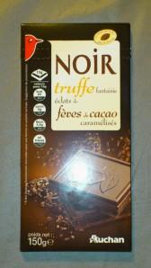 Auchan Chocolat noir à la truffe fantaisie et éclats de fèves de cacao caramélisés