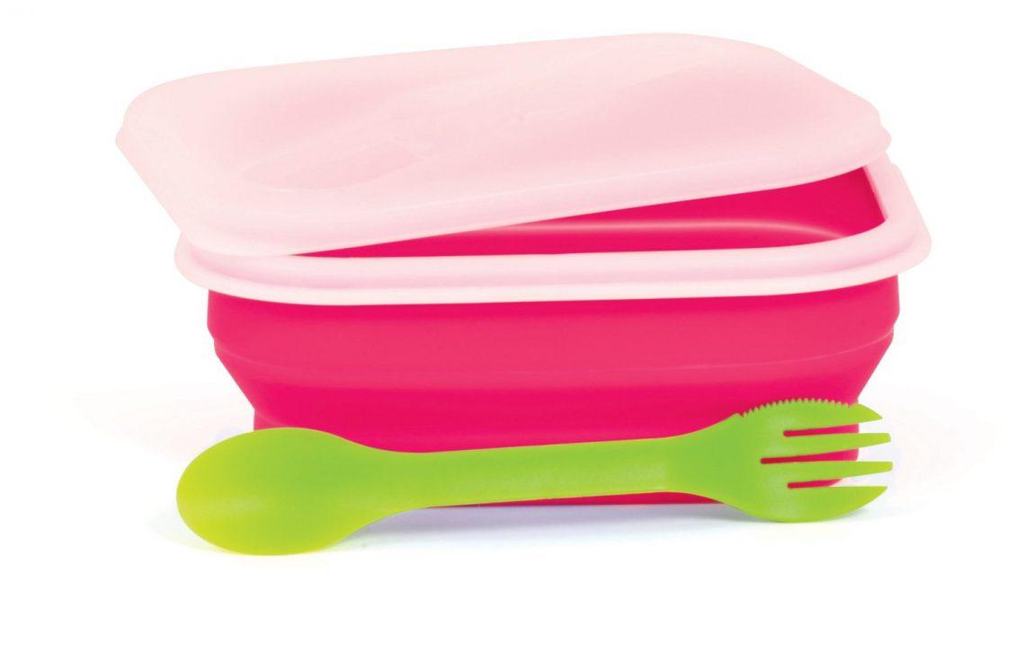 Boîte Repas Pliante avec Couvercle et Cuillère / Fourchette - 820 ml - Visiomed Baby