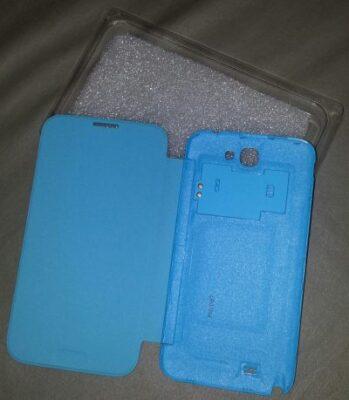 L'intérieur de la flip cover bleue