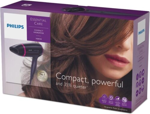 Sèche-Cheveux Compact Essential Care Silence BHD002/00 de Philips