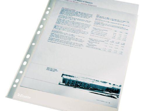 Pochettes Perforées A4 Polypropylène Lisse 11/100e - Incolore de Esselte