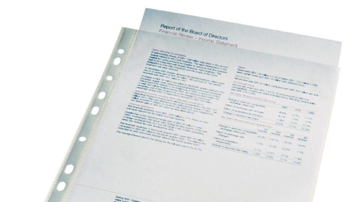 Pochette plastique Esselte Perforées A4 Polypropylène Lisse 11/100e - Incolore