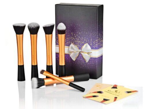 J'ai testé les pinceaux de maquillage USpicy Kit de 6 Pinceaux Professionnel avec Coffret et Carte de Cadeau - Doré