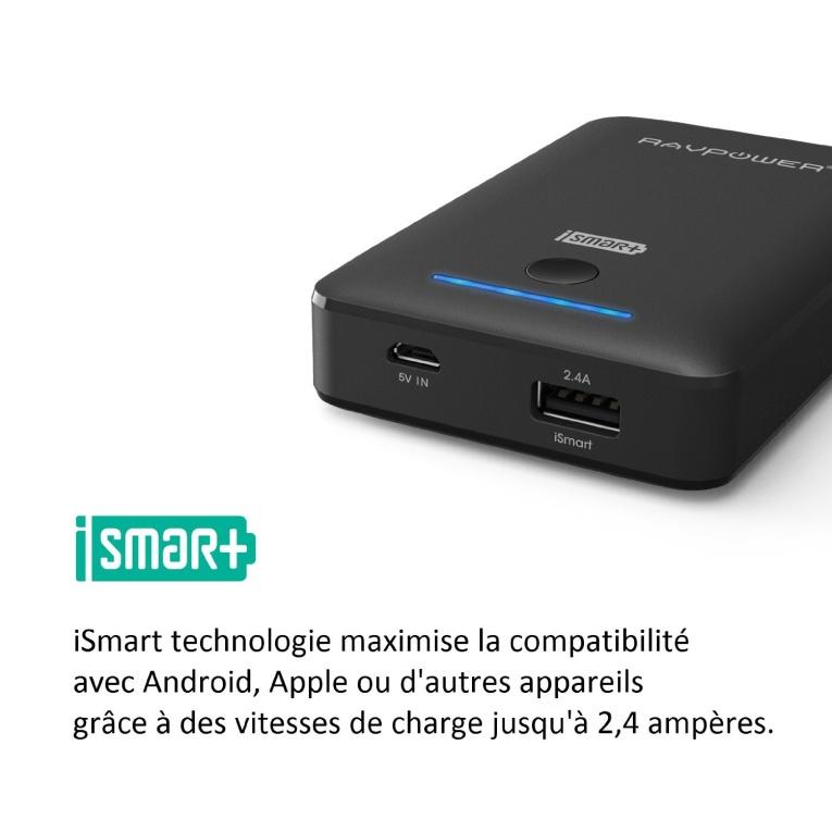 RAVPower Batterie externe 7800 mAh avec charge iSmart (Protections de sécurité multiples, 4 indicateurs LED)