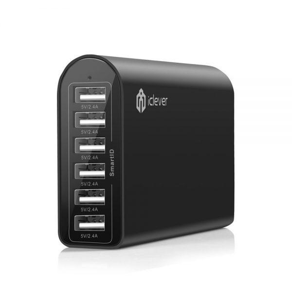Le Chargeur USB Rapide 6 ports Mural/Voyage/Bureau Station Charge AC Adapteur avec SmartIDTM Technologie iClever