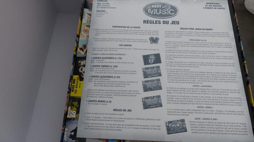 règle du jeu Best of Music de Lansay