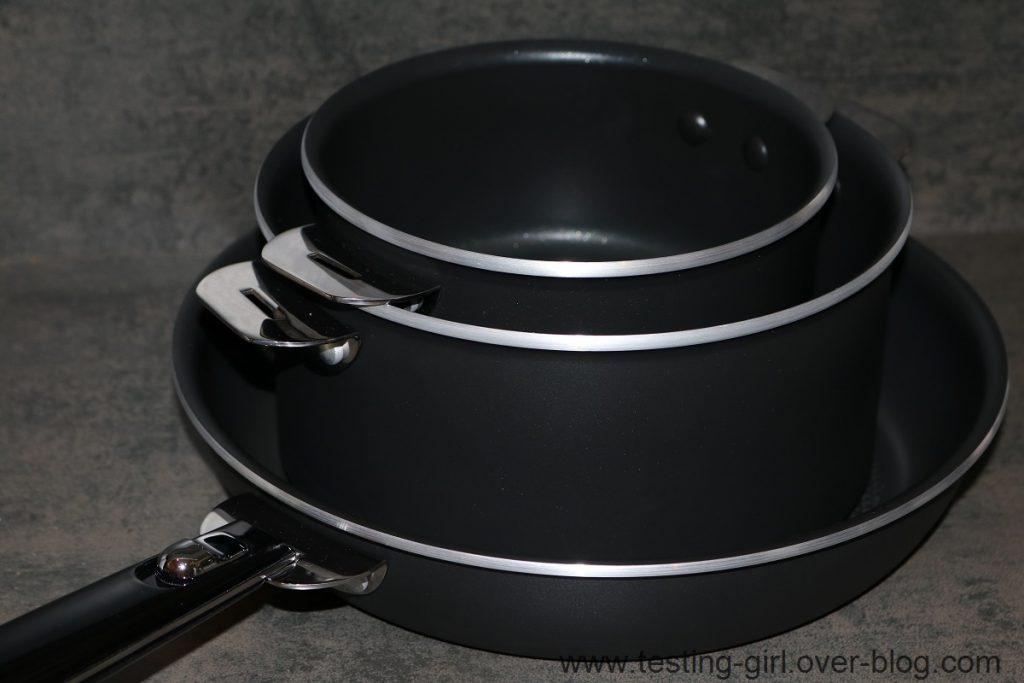 lot de 2 casseroles et 1 poêle amovible Salvaspazio Tempra de Lagostina