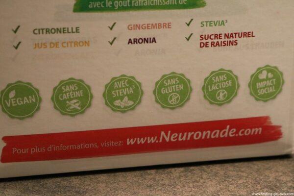 neuronade vegan naturel stevia sans cafeine sans gluten sans lactose impact social