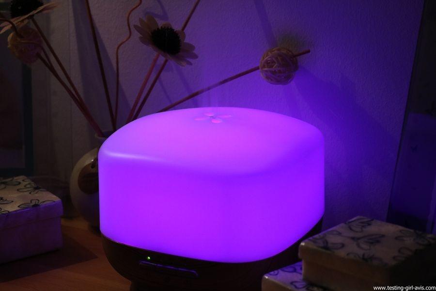 Diffuseur d'Huiles Essentielles Aromatherapie 500mL Anjou Humidificateur Ultrasonique sans BPA ambiance violet