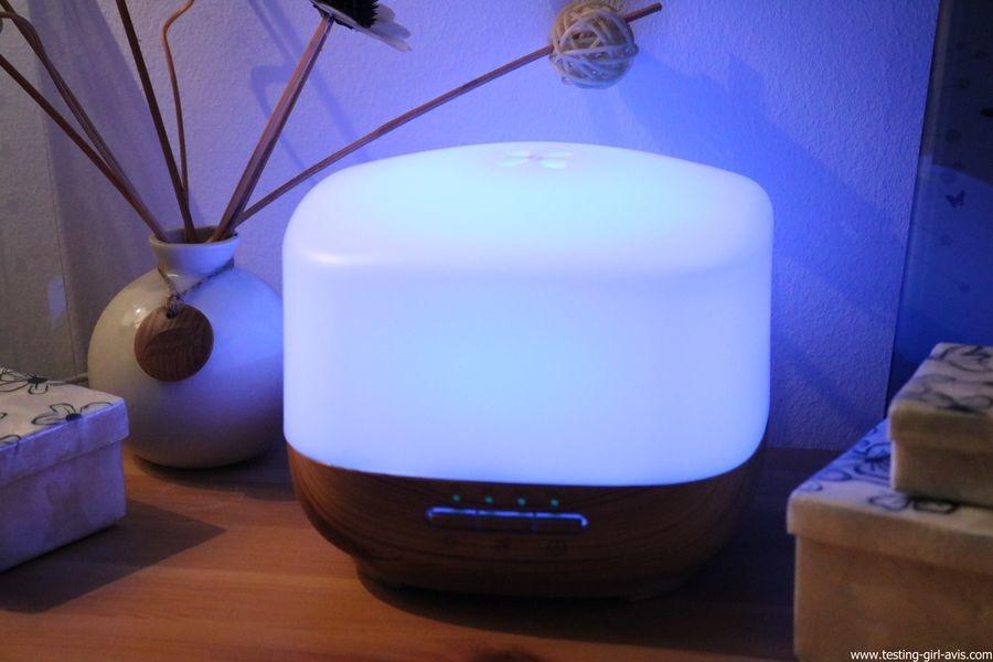 Diffuseur d'Huiles Essentielles Aromatherapie 500mL Anjou Humidificateur Ultrasonique sans BPA ambiance bleu ciel