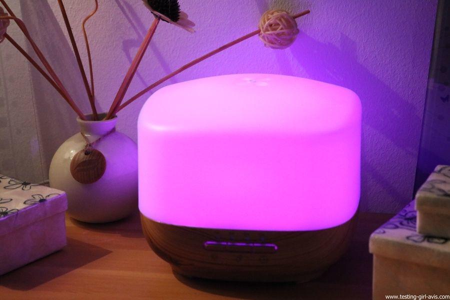 Diffuseur d'Huiles Essentielles Aromatherapie 500mL Anjou Humidificateur Ultrasonique sans BPA couleur rose