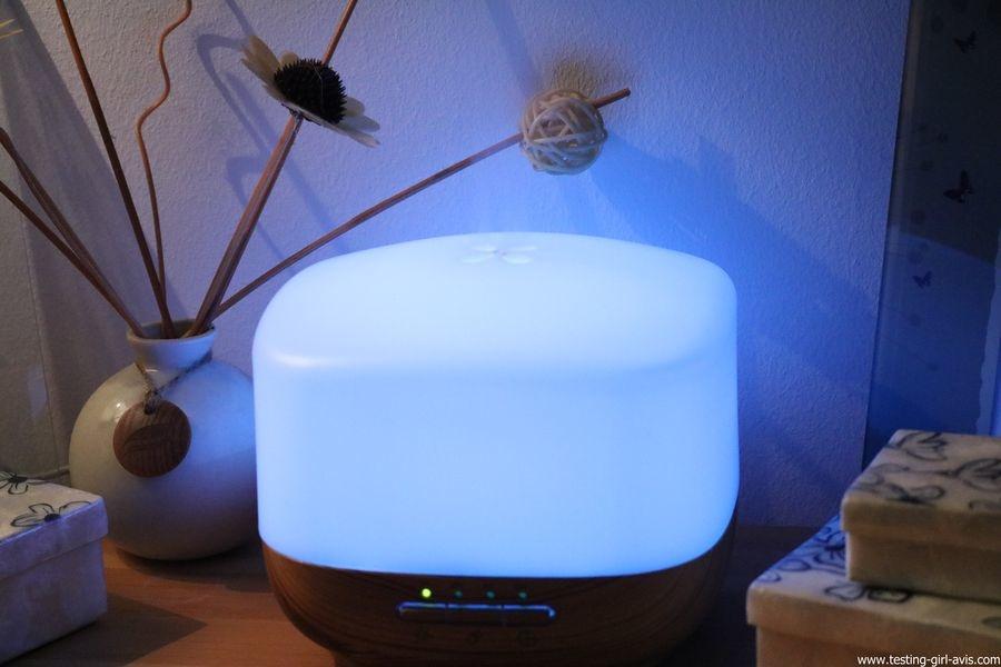 Diffuseur d'Huiles Essentielles Aromatherapie 500mL Anjou Humidificateur Ultrasonique sans BPA couleur bleu