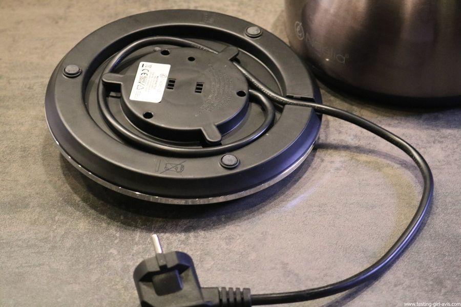 Naelia - Bouilloire thermostat réglable - WKT-EK103-NAE- Inox Gris 1,5 L le cable electrique se range entierement