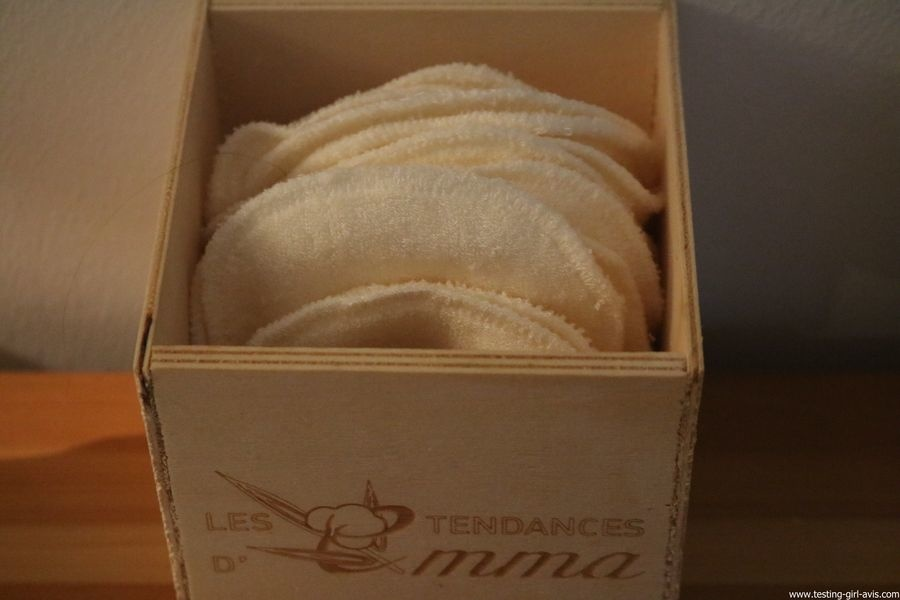 Les Tendances D Emma Kit Eco Belle bois: 15 carrés démaquillants lavables Coton Bio Biface + filet + boite en bois - boite avec cotons lavables