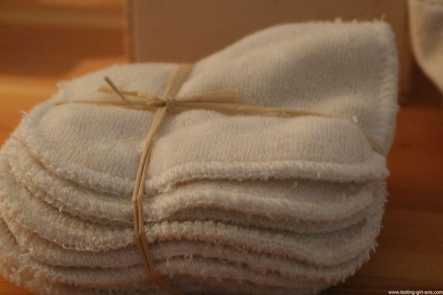 Les Tendances D Emma Kit Eco Belle bois: 15 carrés démaquillants lavables Coton Bio Biface + filet + boite en bois - cotons demaquillants lavables
