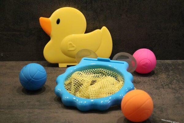 Munchkin Jouet de Bain - Canard Panier de Basket - canard - cerceau - 3 balles - filet