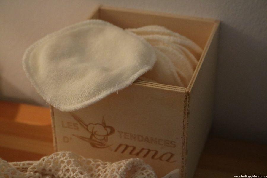Les Tendances D Emma Kit Eco Belle bois: 15 carrés démaquillants lavables Coton Bio Biface + filet + boite en bois - avis