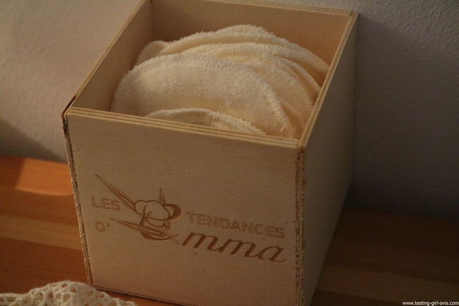 Les Tendances D Emma Kit Eco Belle bois: 15 carrés démaquillants lavables Coton Bio Biface + filet + boite en bois - description