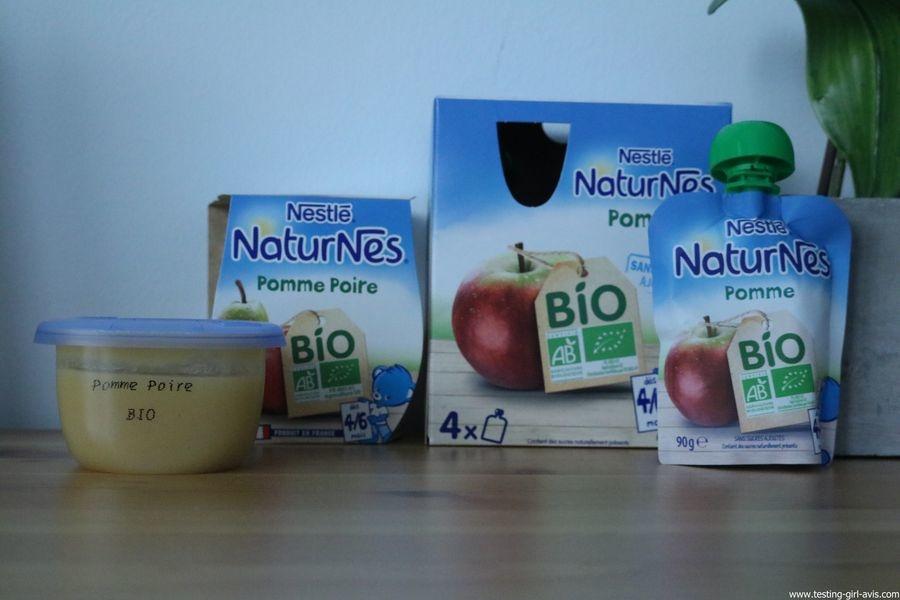 Nestlé Naturnes - Compotes bébé - bio - sans sucres ajoutés
