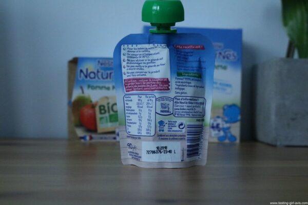 Nestlé Naturnes - Compotes bébé - bio - sans sucres ajoutés - composition