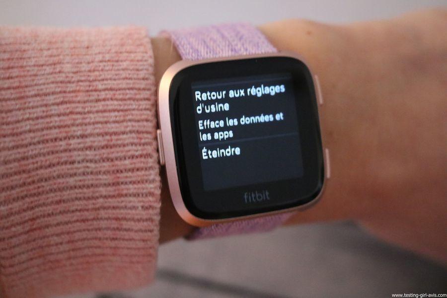  Montre cardio femme - Montre Connectée - Smartwhatch - Fitbit - Versa - Eteindre