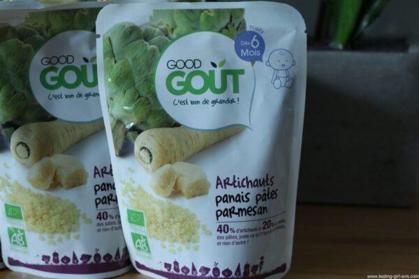 Good Goût - Bio - Bébé - Diversification alimentaire bébé - Artichaut Panais Pâtes Parmesan