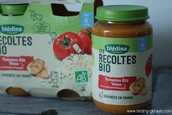 Petits pots blédina - Les recoltes bio - Tomates Riz Veau