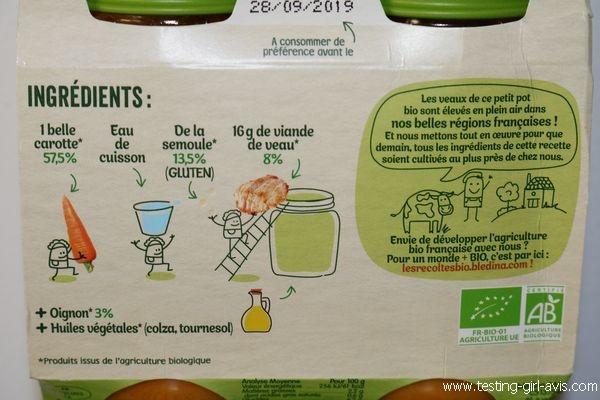 Petits pots blédina - Les recoltes bio - Carottes Semoule Veau