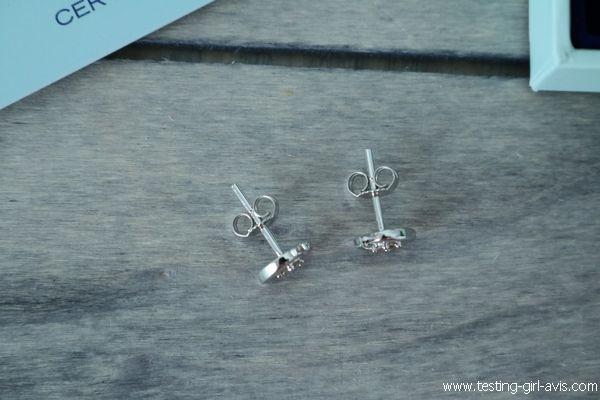 Boucles d'oreilles Miore : Or blanc 9 carats et 4 diamants - Clous d'oreilles