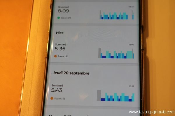 Withings Sleep Test - Données de sommeil