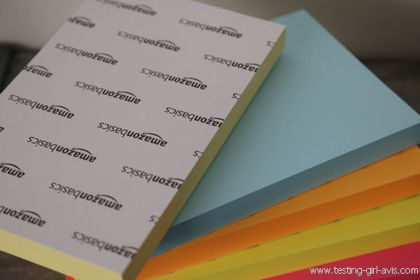 Bloc notes adhésif 6 couleurs AmazonBasics Vs Post-It