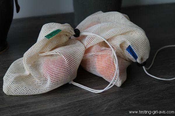 Fruits, légumes, épicerie en vrac, tout ce qui est vendu sans emballage trouve une place dans un de ces sacs.
