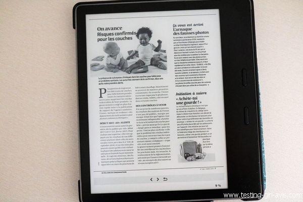 Lecture d'un magazine en PDF sur la Kindle Oasis
