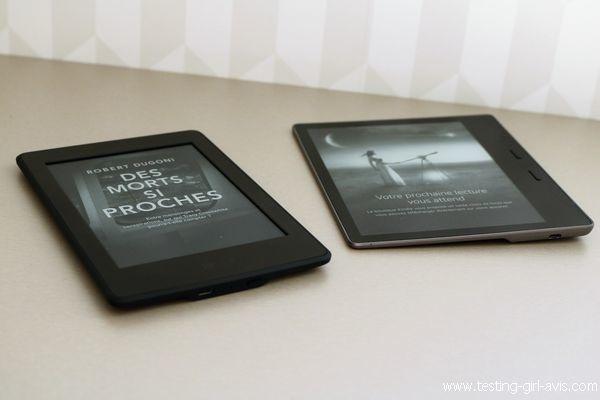 gauche : Kindle Paperwhite, à droite : Kindle Oasis