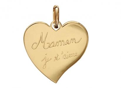 Joli cadeau pour maman - pendentif coeur - Maman je t'aime