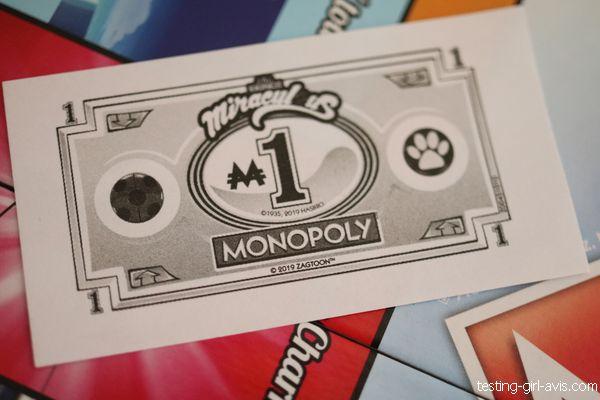 billet de banque M1 du jeu monopoly junior miraculous