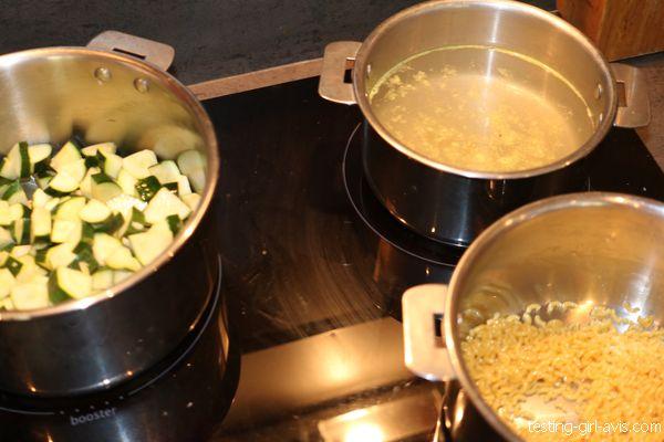début recette risotto coquillettes courgettes