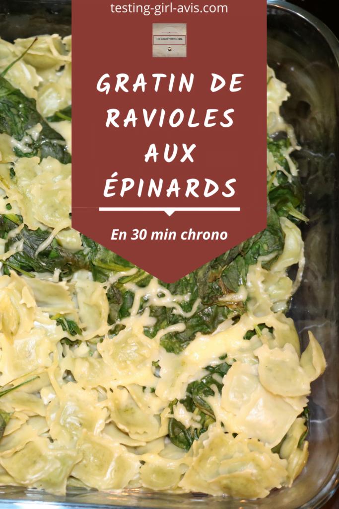 Gratin de ravioles aux épinards Pin