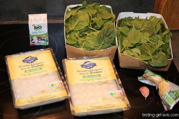 ingrédients pour un gratin de ravioles aux épinards