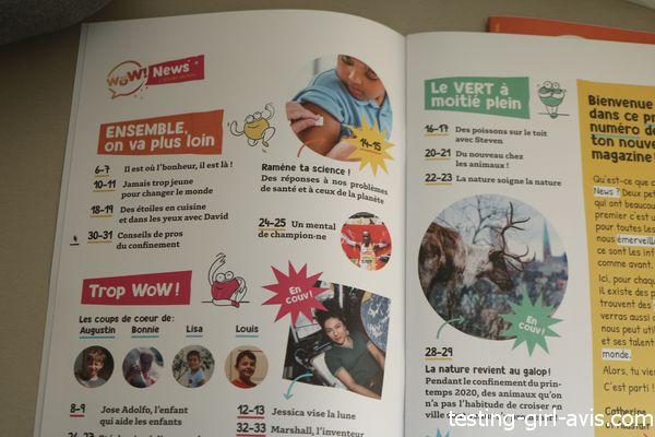 sommaire du magazine enfant actu positive Wow news 8 ans -12 ans